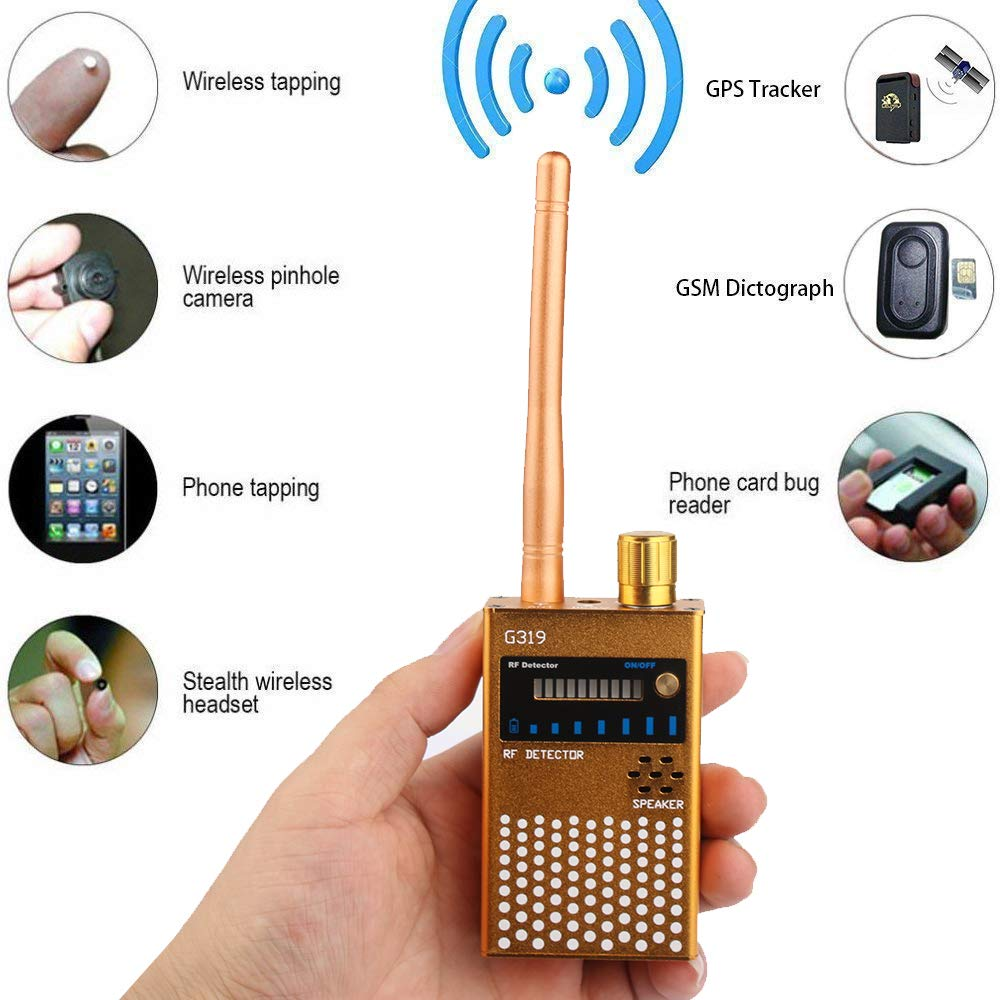 RF Bug Detector,Detect Wide Range Radio GPS Frequency,High Sensitive Wireless Hidden Camera Sweeper Yellow