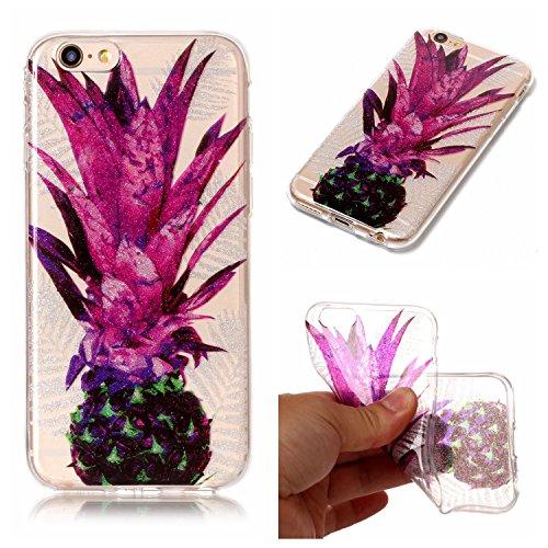 Custodia iPhone 6 Plus / 6S Plus , LH Foglie Viola Ananas TPU Trasparente Silicone Cristallo Morbido Case Cover Custodie per Apple iPhone 6 Plus / 6S Plus 5.5