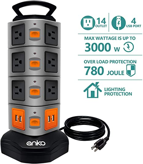 ANKO 3000W 13A Surge Protector Electric Charging Station Power Strip Tower