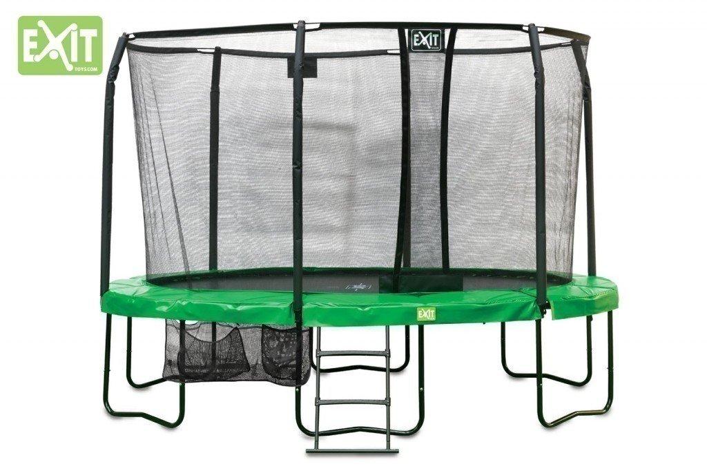EXIT JumpArenA Oval All-in-1 / 10.95.12.00 / Trampolin mit Sicherheitsnetz, Leiter + Schuhsack / Maße: Ø 244x380 cm x 87,5 cm