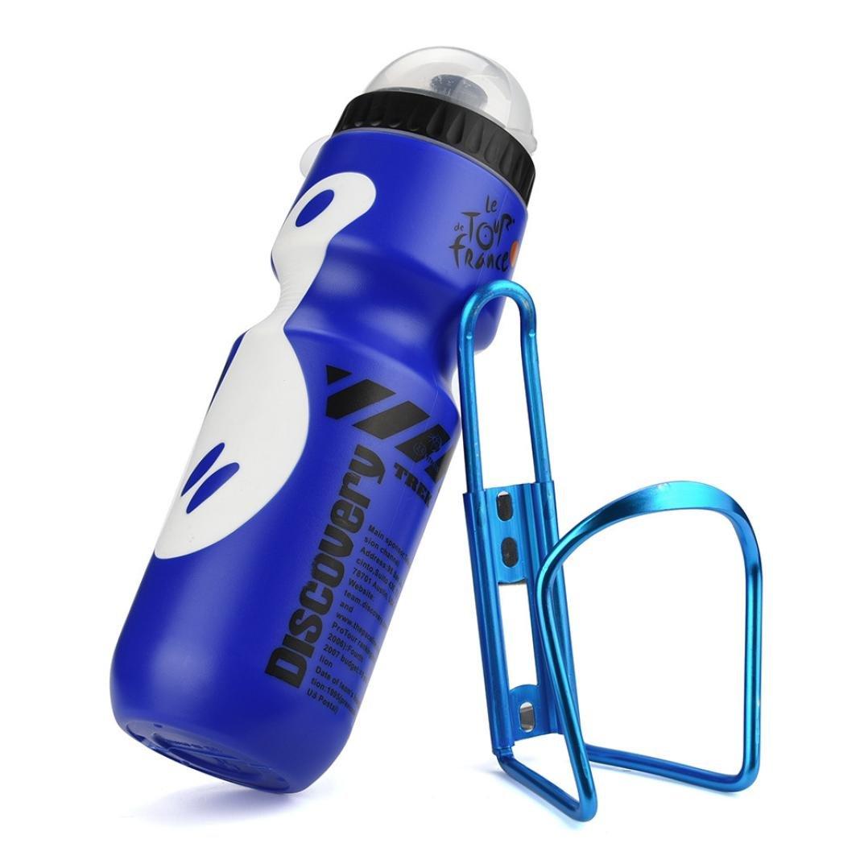 Vanvler 650ML Outdoor Water Bottle + Kettle Holder Cage Rack -Mountain Cycling Bike Bicycle Kit (Blue)