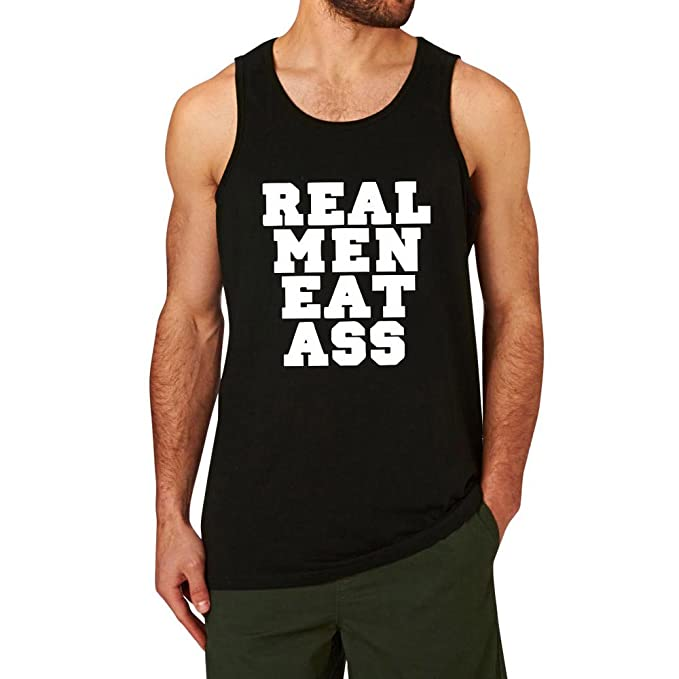 c5b9850a523b30 Amazon.com  Mens Real Men Eat Ass Funny Workout Graphic Cotton Tank Tops men   Clothing