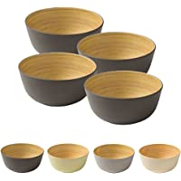 Naturally Chic Reusable Bamboo Bowls - 5.5 Inch Round Bowls for Weddings, Parties, BBQs, Events