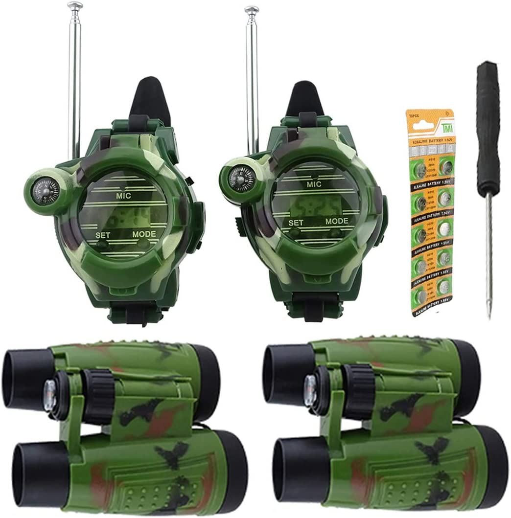 Hsility Walkie Talkies Watch for Kids Two-Way Long Range Watches Radio Transceiver with Binoculars for Children Cool Outdoor Activity Toys Gifts for Girls & Boys