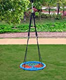 Clevr 24'' Round Tire Spider Web Tree Net Swing with Detachable 360 Degree Spin Swivel Hanging Hardware & Adjustable 71'' Height Rope, 600 lbs. Limit - Blue/Red