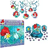 Amscan Little Mermaid Party Decorations Bundle - Scene Setter, Hanging Swirls, and Table Decorating Kit
