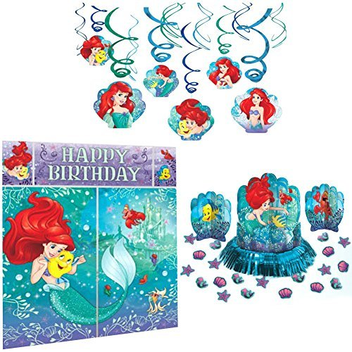 Amscan Little Mermaid Party Decorations Bundle - Scene Setter, Hanging Swirls, and Table Decorating -