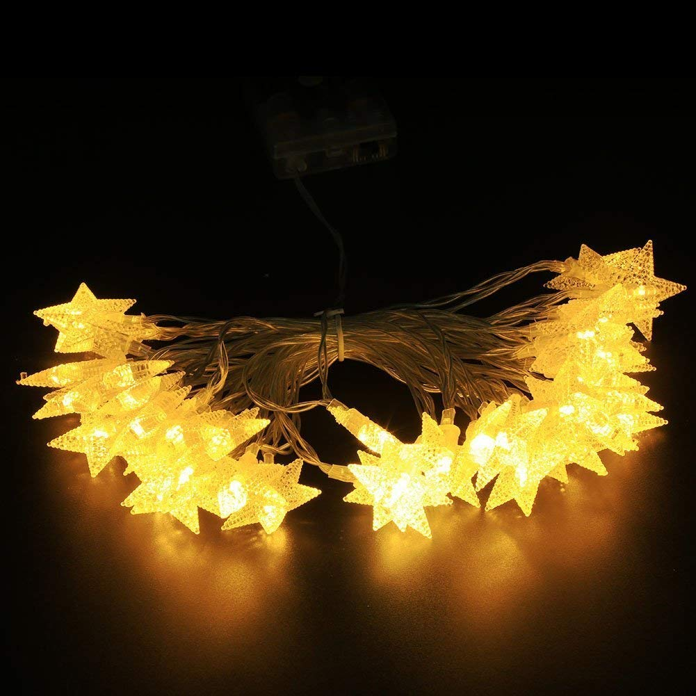Star String Lights,Battery Powered Twinkle Lights, Decorations with 50 pcs LED Indoor Fairy Lights Warm White, Ideal for Patio Wedding Bedroom Princess Castle Play Tents
