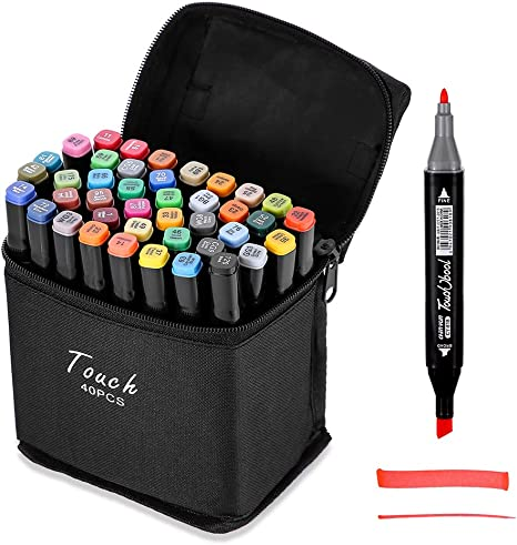 40 Color Dual Tips Permanent Marker Pens Art Markers for Kids Highlighter NEW
