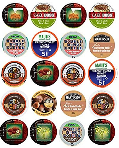 20 Cup Flavored DECAF Coffee Sampler! 10 Different Flavored DECAF Only Coffee...