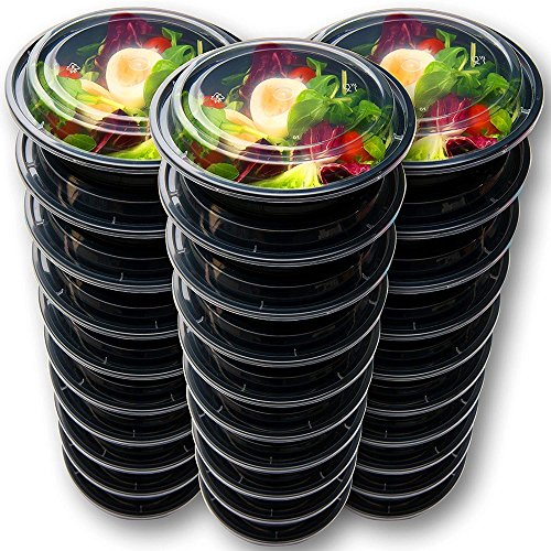 Hecentur Disposable Food Containers Meal Prep Bowls - Plastic Containers with lids Round Meal Prep Containers for Home, Work, and Travel Use, BPA Free, Freezer and Microwave Safe, Black, 720ML, 6PCS