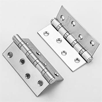 GoaEin 4 Pcs 5x3 Inch Mute Ball Bearing Brushed Door Hinges Hardware Door Hinge with 40 Pcs Screws Color : Silver, Size : 125x75mm