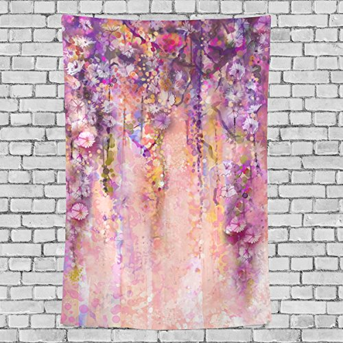 Sunlome Pink Violet Watercolor Flowers Painting Wisteria Tree Wall Art Hanging Tapestry for Bedroom/Living Room/Dorm Accessories 90 X 60 Inches