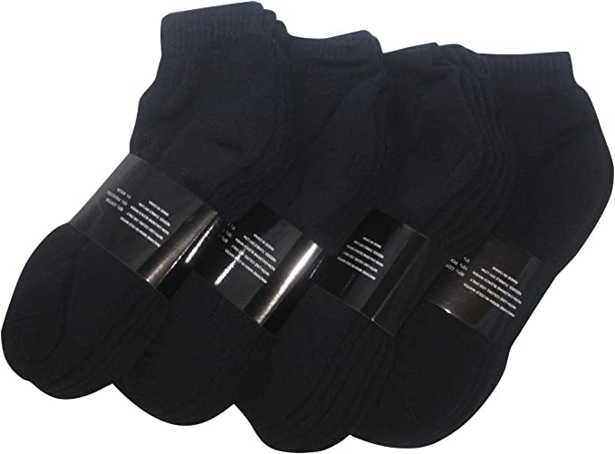 Wholesale Lot Men/'s Black Ankle Quarter Cotton Low Sport Socks Size 9-11 10-13
