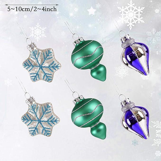 Valery Madelyn 6 Piezas Bolas de Navidad de Vidrio Esmerilado, 5cm, Azul Verde y Plata Brillante Adornos navideños con Colgadores Decoraciones para Árboles ...