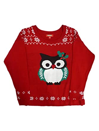 Holiday Traditions Womens Red Owl With Fair Isle Print Christmas ...
