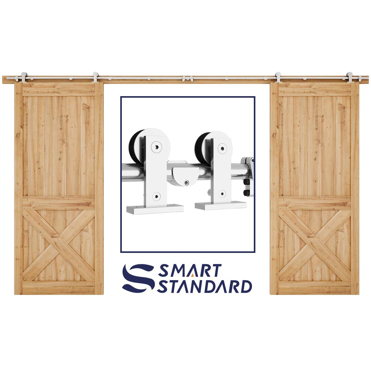 SMARTSTANDARD 12ft Stainless Steel Double Door Sliding Barn Door Hardware Kit -Smoothly and Quietly -Easy to Install –Includes Installation Instruction Fit 36'' Wide Door Panel (T Shape Hanger)