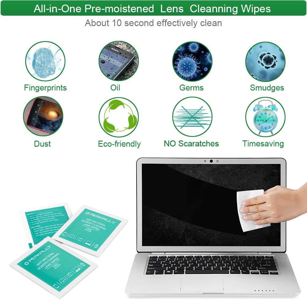 tabletas Lentes,iPad los Anteojos -120 Unidades Toallitas Limpia,Peakally Prehumedecidas Limpieza de Lentes,Gafas Toallitas de Limpieza Individuales Ideales para Pantallas de computadoras m/óviles