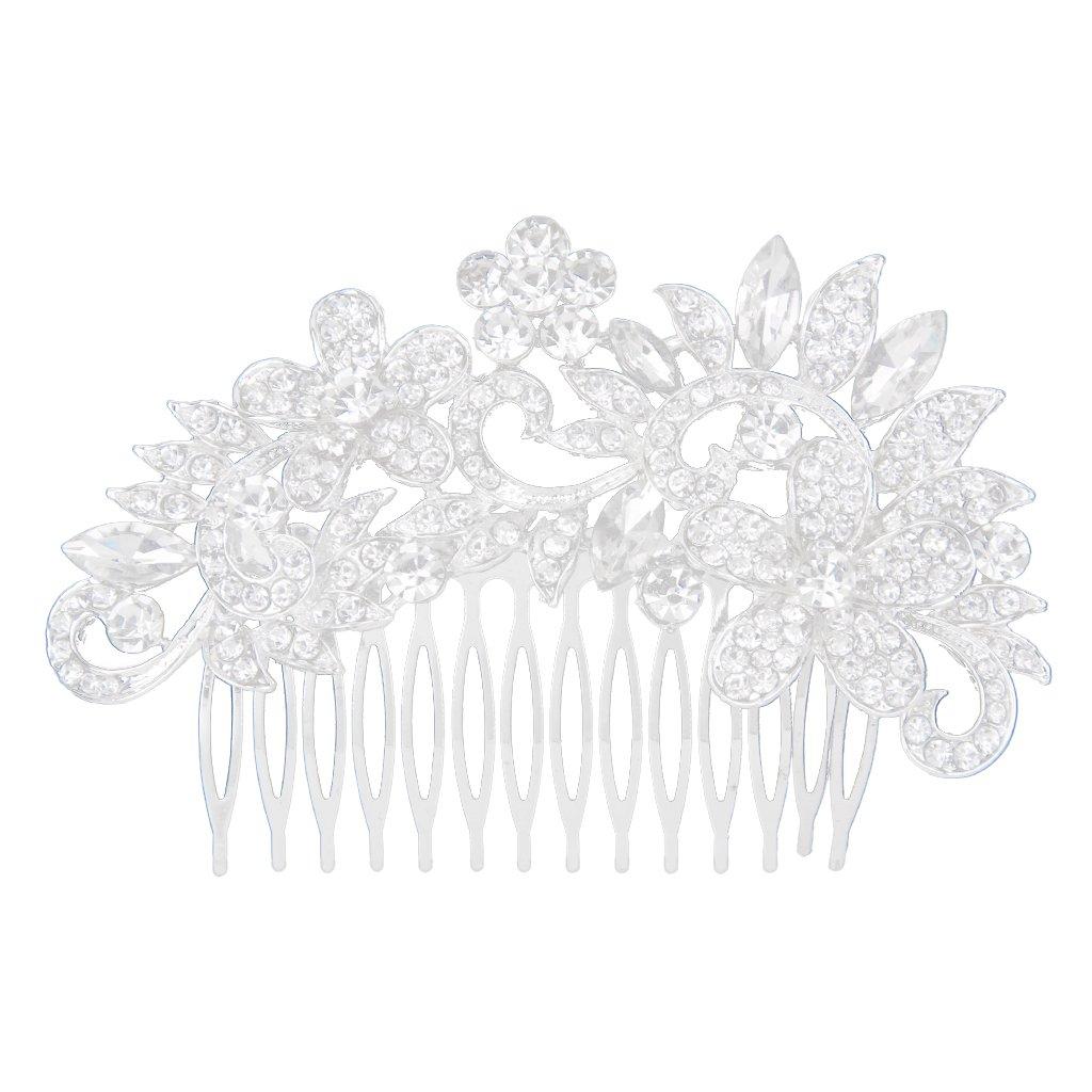 Diamantes De Imitación De Cristal Diamante Flor Broche Para El Cabello Peine De Diapositivas Para La Boda Nupcial Generic STK0115018102