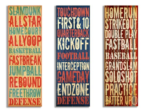 Baseball Large Framed Print (The Kids Room by Stupell Football, Baseball, Basketball Sports Typography 3-Pc. Rectangle Wall Plaque Set, 7 x 0.5 x 17, Proudly Made in USA)