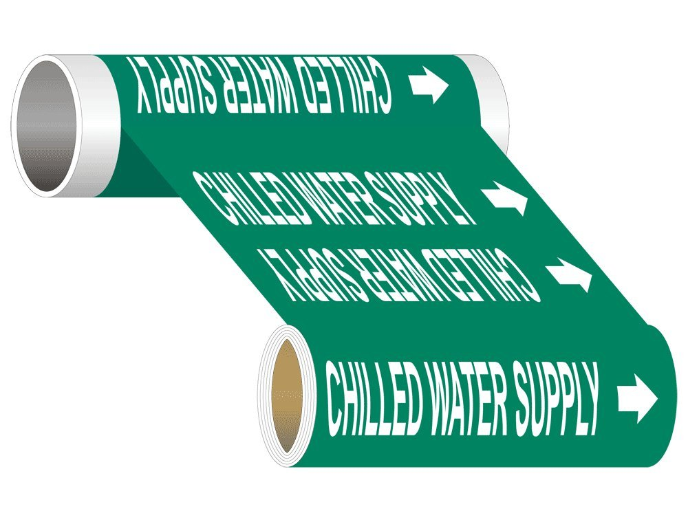 Chilled Water Supply (White Legend On Green Background) ASME A13.1 Pipe Label Decal, 12 inch x 30 ft, 1.25 inch Letters on Vinyl by ComplianceSigns