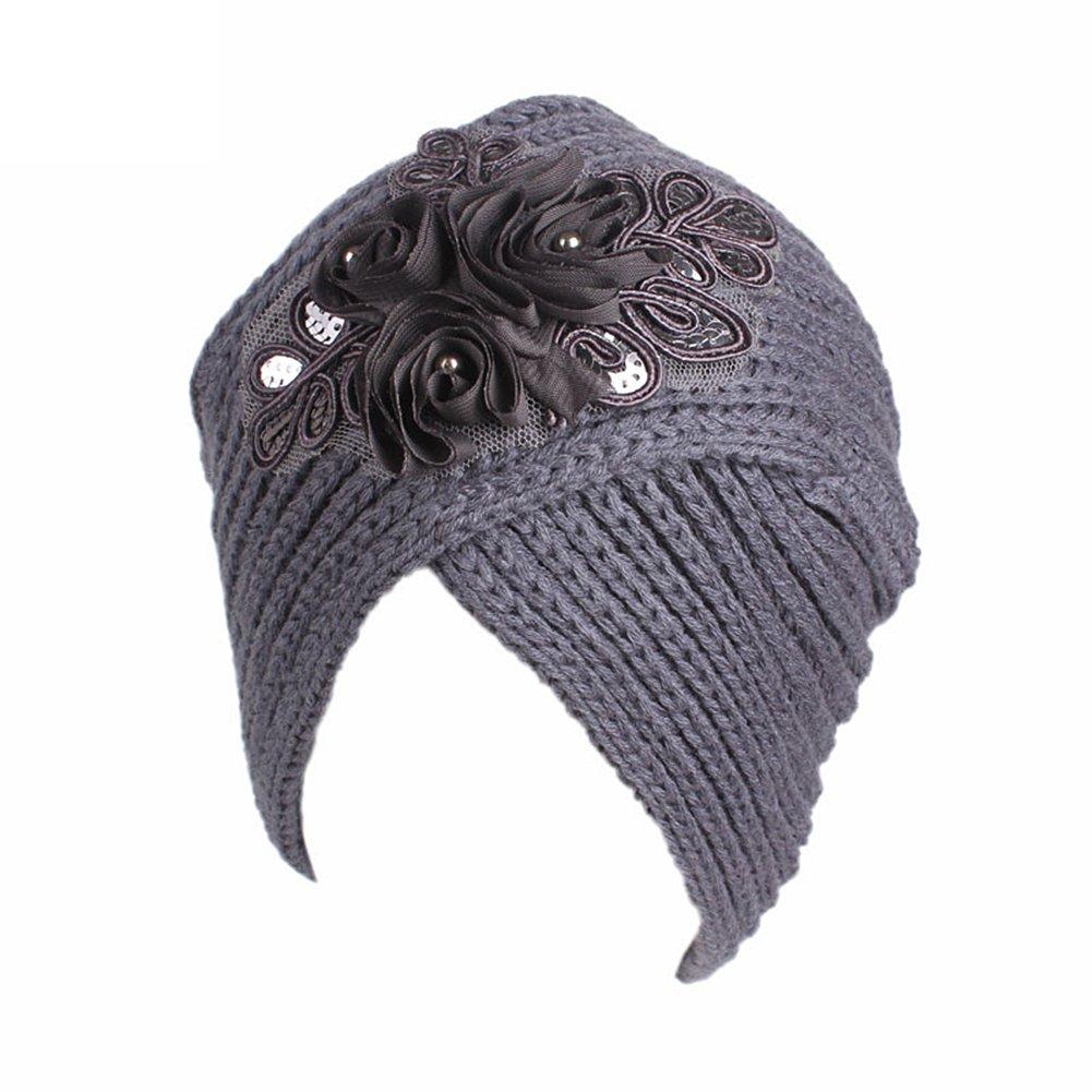 TININNA Donna Vintage Lavorato a maglia Cappello da turbante Berretto Cuffia Beanie Hat Copricapo Cap