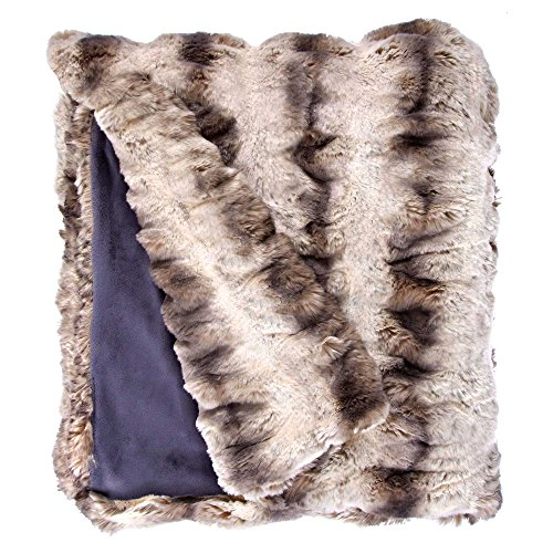 Natural Chinchilla Fur - Fabulous Furs: Faux Fur Luxury Throw Blanket, Truffle Chinchilla, Available in generous sizes 60