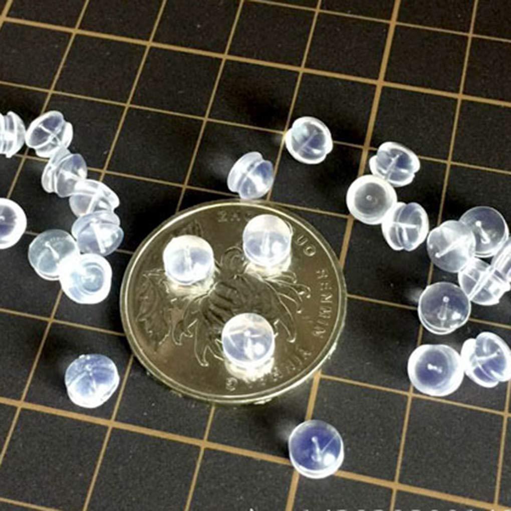 Jinzuke Los Tapones de Goma Pendiente 10pcs Volver Plug Tapa Transparente de Silicona Suave antial/érgica Seguridad Pendientes de tap/ón