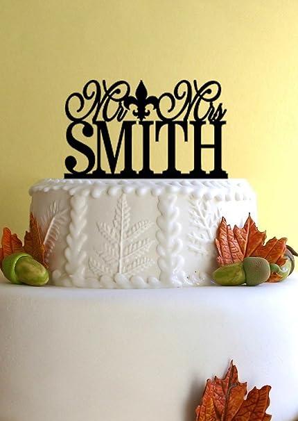 Amazon Com Mr And Mrs Fleur De Lis Wedding Cake Topper Personalized