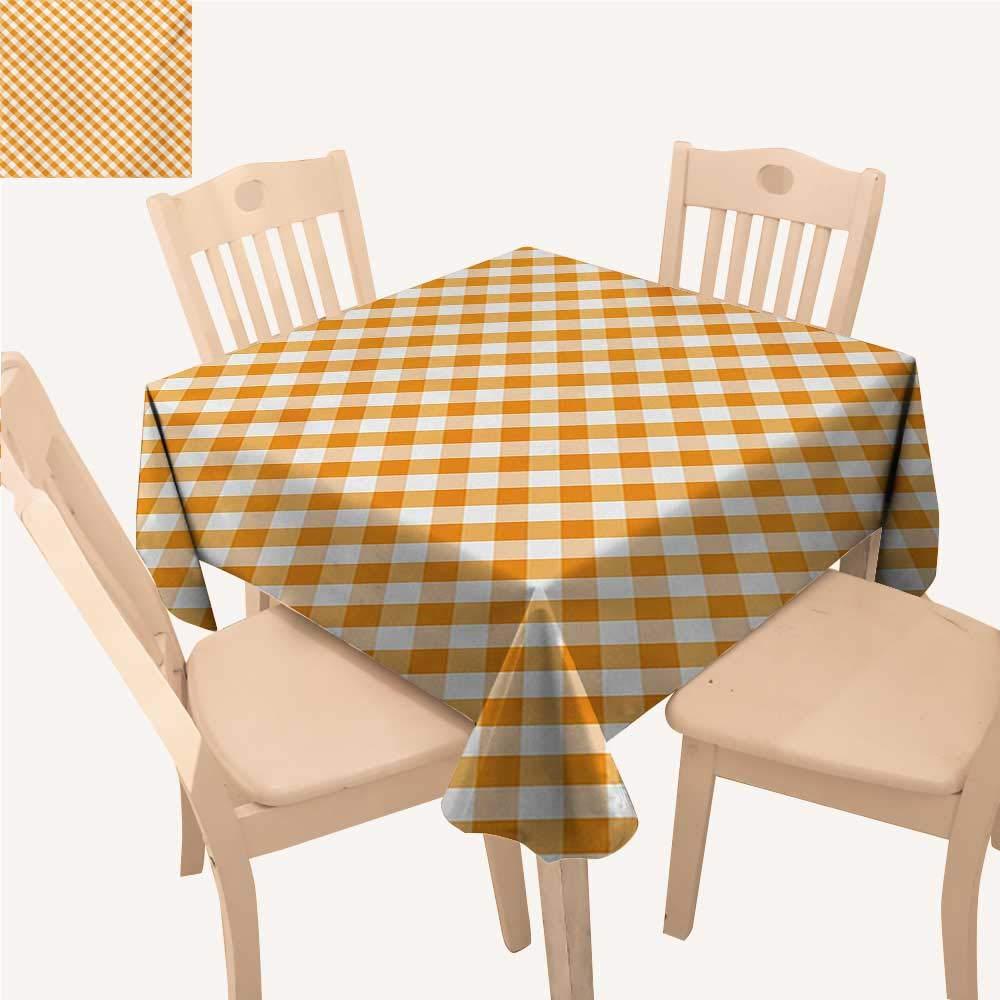 WinfreyDecor チェック柄 正方形 テーブルクロス ブルーとホワイト ギンガム生地 テクスチャイメージ カントリースタイル 格子縞 クロスストライプ テーブルクロス こぼれ防止 ブルーホワイト W 70