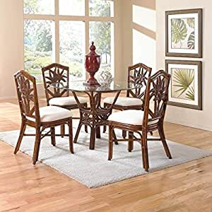 bamboo dining room furniture | Amazon.com: Indoor 5 PC Rattan & Wicker Dining Set (Beach ...
