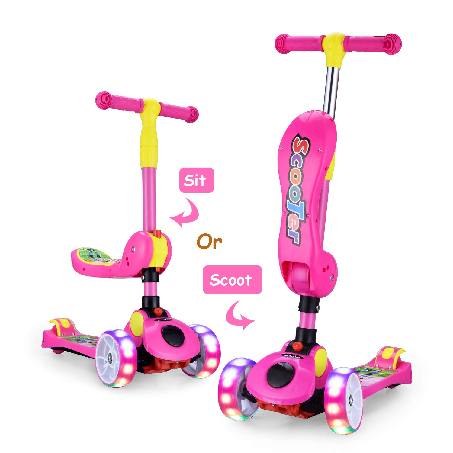 AOODIL 2-in-1 Kick Scooters for Kids Toddler 3 Wheel Scooter for Boys&Girls -Kids Scooter with LED Light Up Wheels -Adjustable HeightWide Deck for Children from 2 to 14 Year-Old