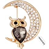 MANZHEN Crystal Owl on the Moon Crescent Brooch Bridal Wedding Brooches Pins