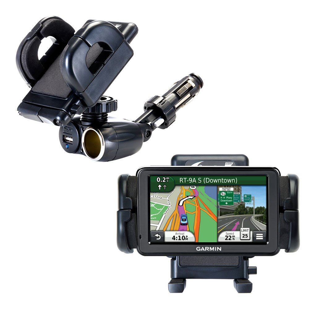 2 in 1 USB Port and 12V Receptacle Mount Holder for the Garmin Nuvi 2455 2475LT 2495LMT 2455LMT Keeps Your Device Secure in Any Car or Truck