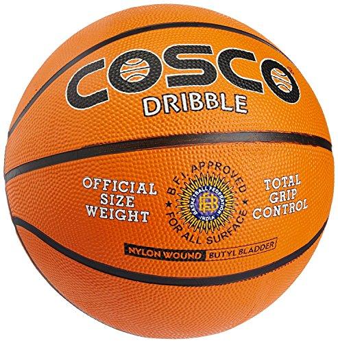 Cosco Original Nylon Dribble Basket Balls  Orange, Size 7