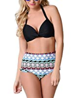PZZ Women Halter Bandeau Retro Flower Printing Swimsuit Two Pieces Bikini Set