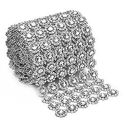 Silver Diamond Flower Shape 4x 1 Yard Mesh Wrap Roll Rhinestone Crystal Ribbon