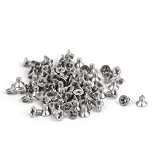 uxcell a16051600ux0412 M2x3mm 316 Stainless Steel Flat Head Phillips Machine Screws Silver Tone Pack of 80