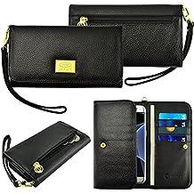 Case+Black_Stylus Genuine Real Leather Purse/Pouch Fits LG HTC Motorola Universal Women's Luxury Smart Phone Clutch Wristlet Strap Flip Wallet – Black. Fits the Following Models: