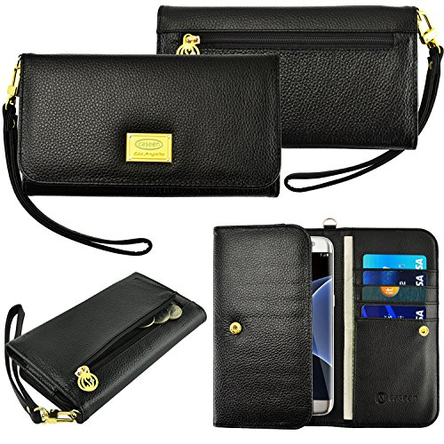 Case+Black_Stylus Genuine Real Leather Purse/Pouch Fits LG HTC Motorola Universal Women's Luxury Smart Phone Clutch Wristlet Strap Flip Wallet – Black. Fits the Following Models: