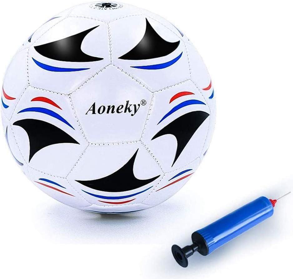 Aoneky Balón de Fútbol para Niños - Talla 3 Diámetro 18 cm, Balón de Fútbol Profesional con Bomba de Aguja, Entrenamiento de Fútbol para Partido, Juguete Infantil Juego de Fútbol Deporte al Aire Libre
