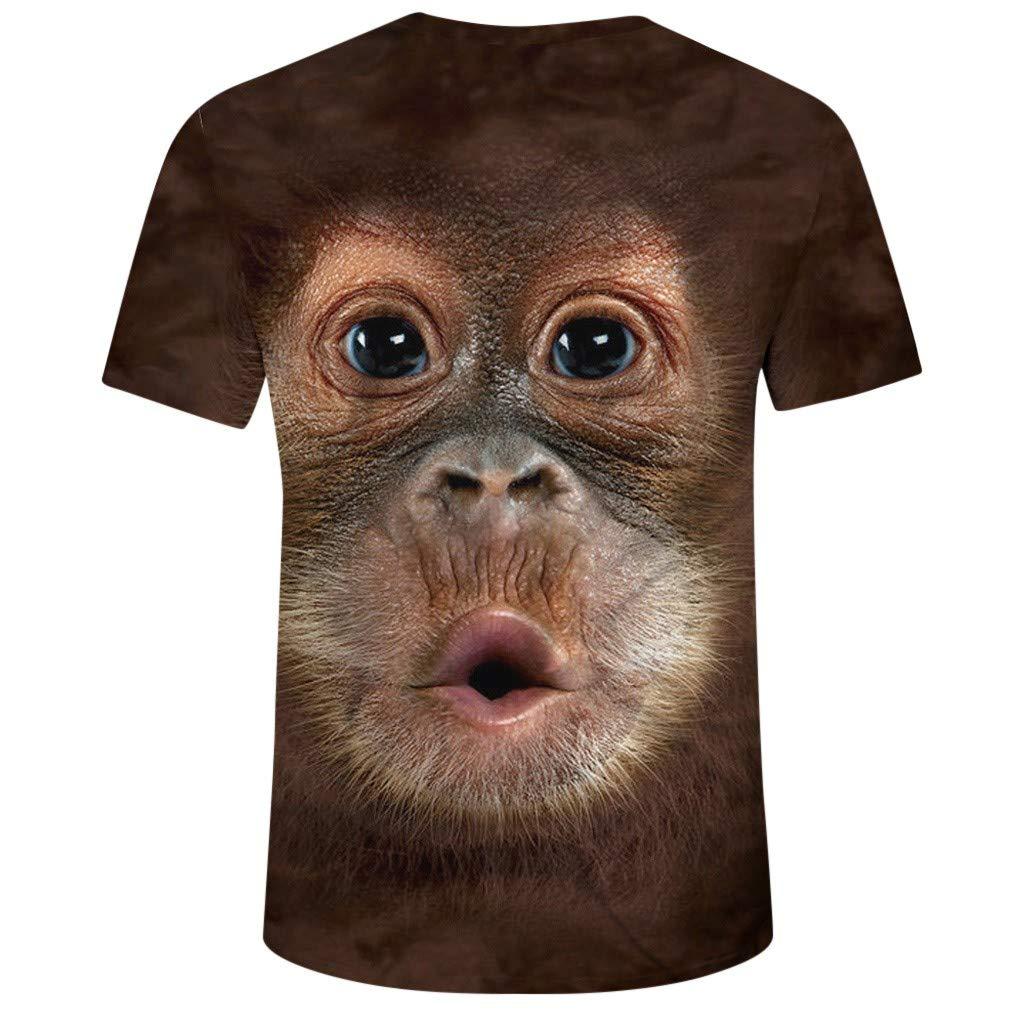 Mr.Macy Men Spring Summer Funny 3D Print O-Neck Short Sleeve T Shirt Top Blouse