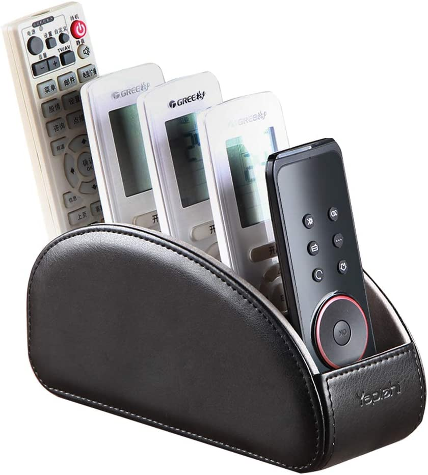 All-in-One Leather TV Remote Control Holder Black with 5 Compartments Nightstand Desktop DVD Media Player Remote Caddy Storage Box Organizer Tray for Makeup Brush Pen Stationary Table Controllers