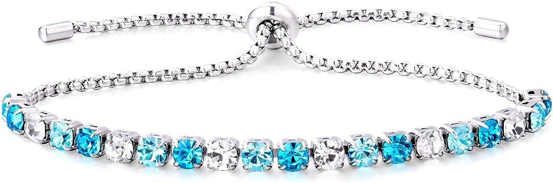 Adjustable Clasp KRKC/&CO Womens Tennis Bracelets 14k Gold Iced Out Tennis Bracelets Prong-Setting 5A Cubic Zirconia Stones