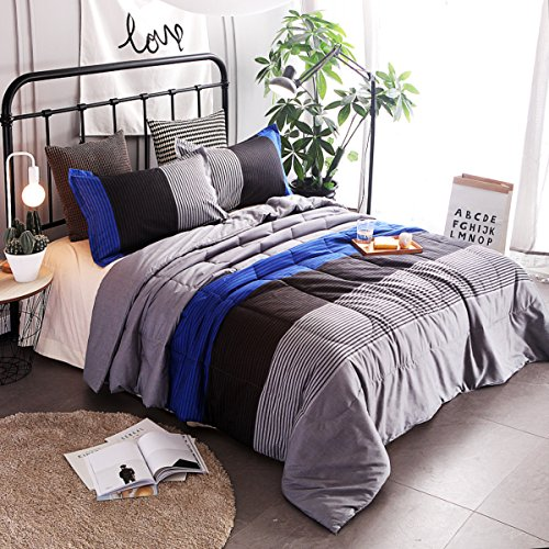 YOUSA 3-Piece Striped Quilt Set Boys Bedspreads/Coverlet Sets/Comforter Sets Queen (Blue-Striped)