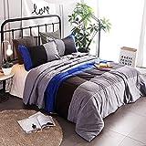 YOUSA 3-Piece Striped Quilt Set Boys Bedspreads/Coverlet Sets/Comforter Sets Queen (Blue-Striped)