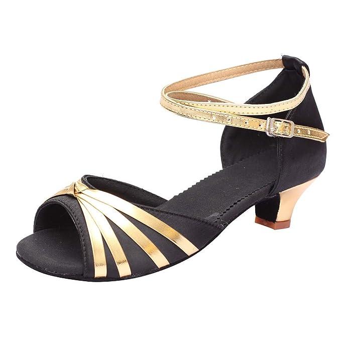 Zapatos de Baile Latino para Mujer Moda Mujeres Bailando Rumba Vals Salón Salón Baile Latino Sandalias de tacón bajo Zapatos: Amazon.es: Ropa y accesorios
