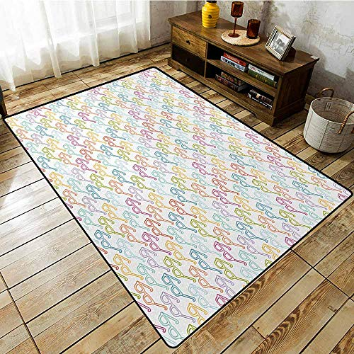 - Rectangular Rug,Indie,Colorful Pattern with Classical Old Fashioned Eyeglasses Nerd Smart Hipster Doodle,for Outdoor and Indoor,6'6