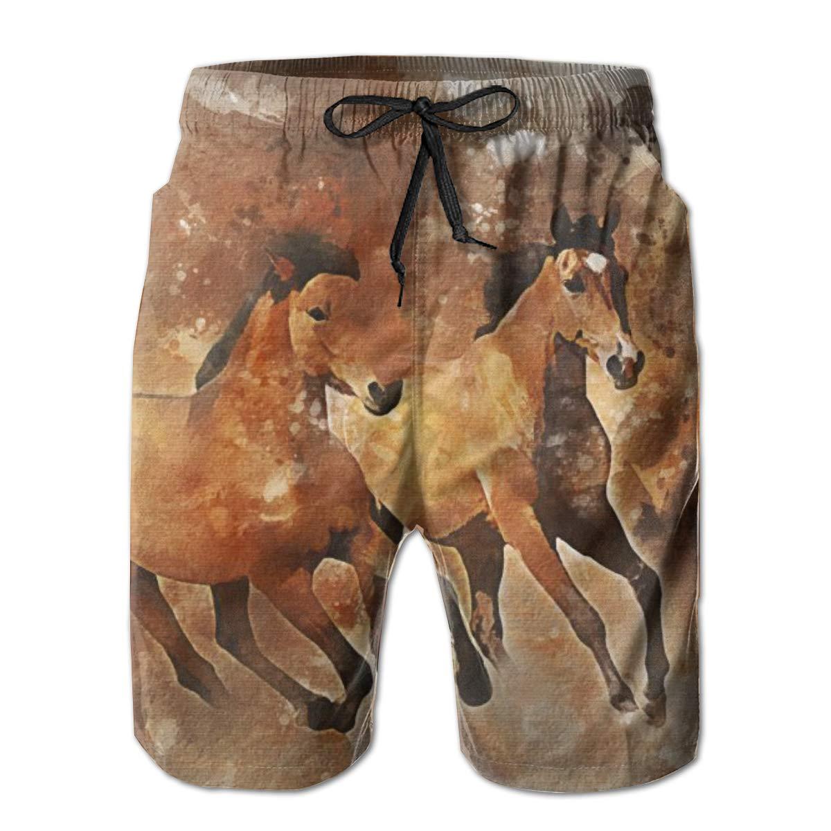 SARA NELL Mens Swim Trunks Running Horses Animal Surfing Beach Board Shorts Swimwear