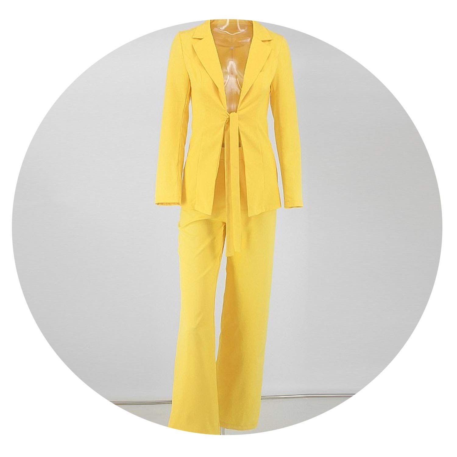 YELLOW Bow Ladies Suit Women Suits Office Sets Casual Blazer and Pants Set Formal Two Piece Set